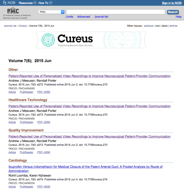 Cureus indexed in PMC