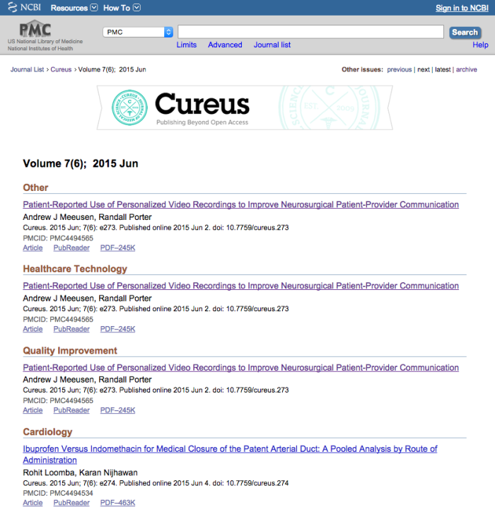Cureus indexed in PMC
